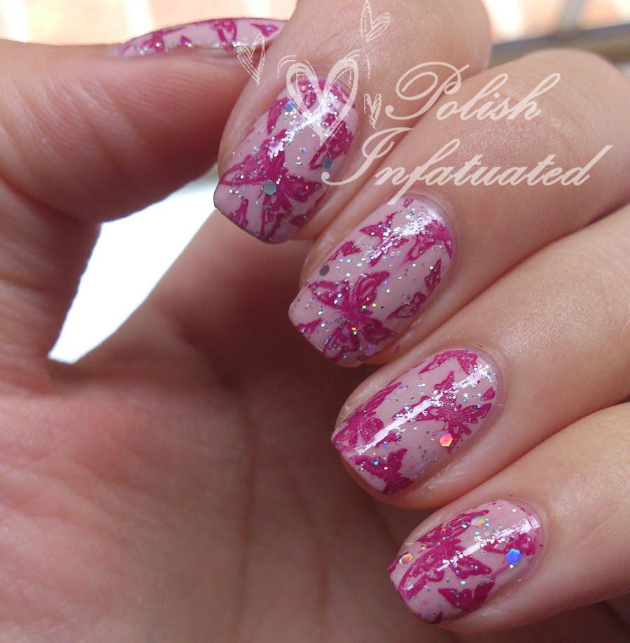 pink glittery butterflies4