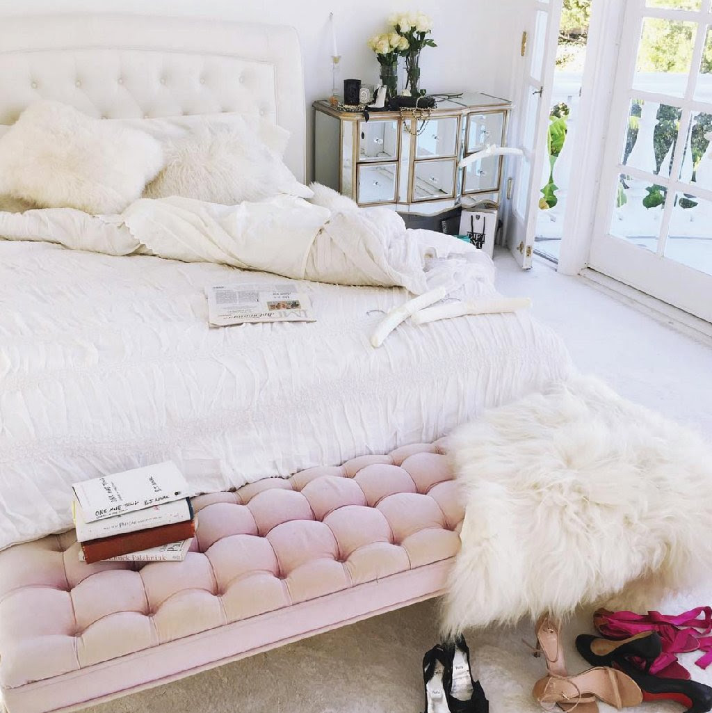 Soft Pink Tufted End of Bed Bench Blush Pink Bench