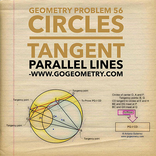 Geometric Art of Problem 56. Tangent Circles, Parallel Lines, iPad Apps, Typography.
