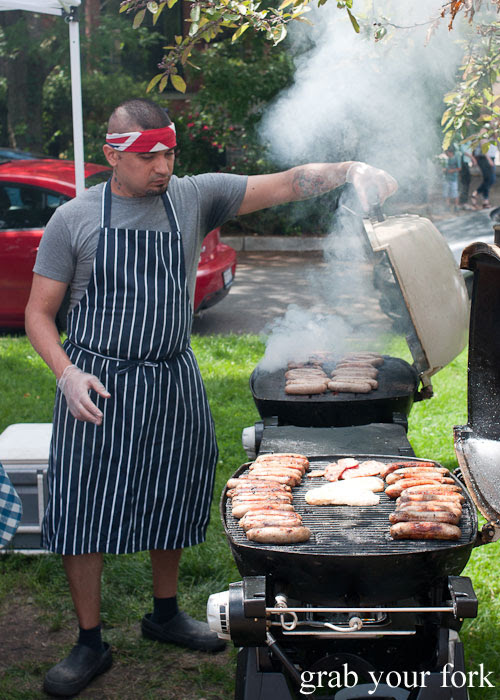 Sausages barbecue Logan Square Farmers Market greenmarket producers Chicago Illinois