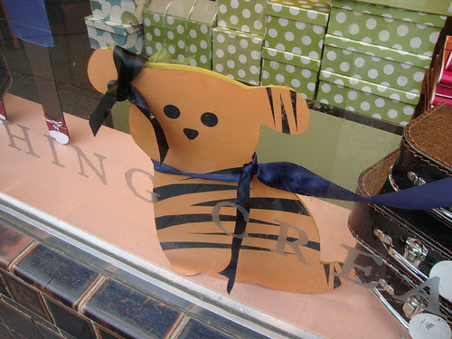 in the window of Paper Source:  a dog/tiger