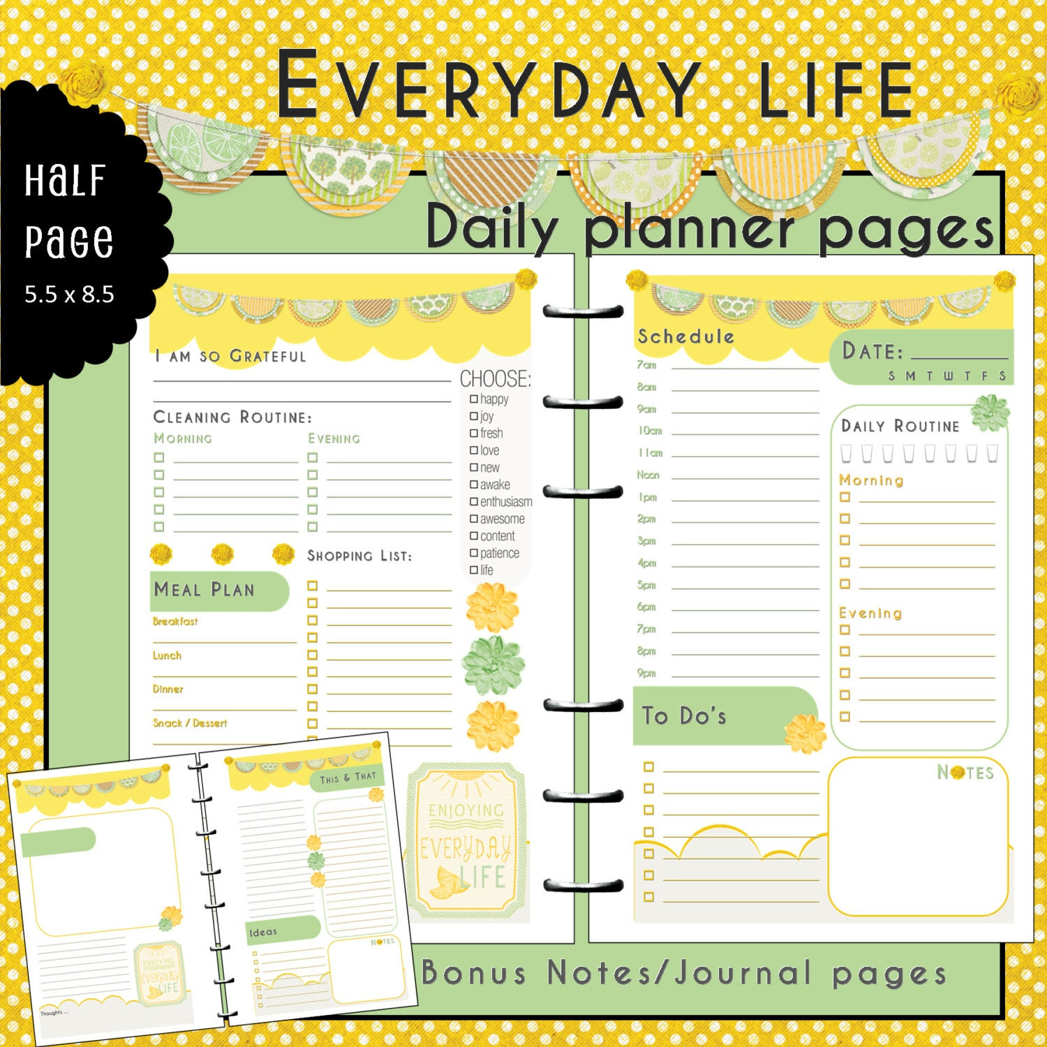 Items similar to Half Page UNdated Daily Planner Inserts ...