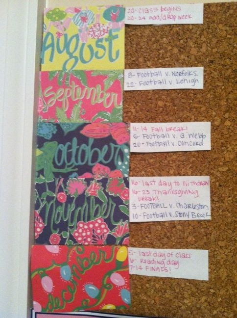 Important semester dates on a bulletin board using Lilly agenda paper (: Different than anything else I've seen!!