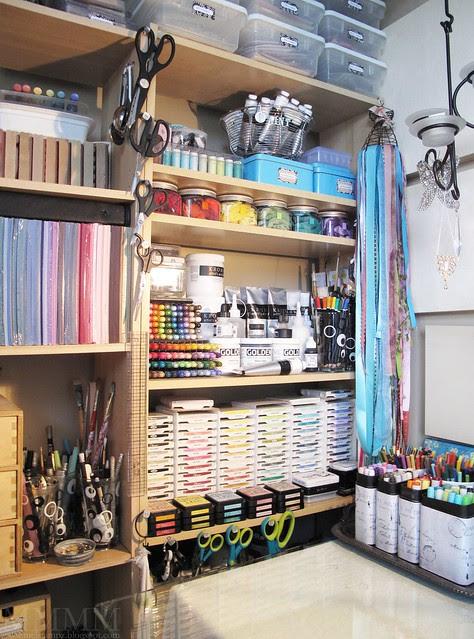 studio work desk colour & media shelf