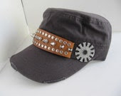 Steampunk Hat, Cadet Hat, Gears, Man, Hat, Military Cadet Hat, Gears, Spikes, Steampunk, Womans Hat, Unisex Hat, Cap