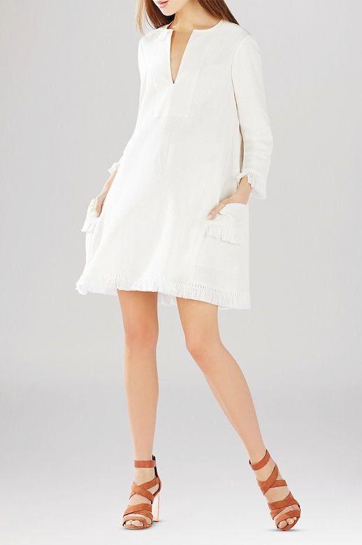Le Fashion Blog Incredibly Stylish White Dresses With Fringed Hem Holiday Summer Style BCBGMAXAZRIA Trysta Fringe Dress