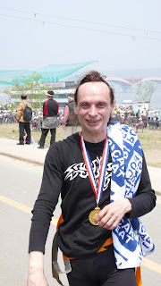 Portrait of Valery Svezhov after completing the 1km high wire walk across the Han river