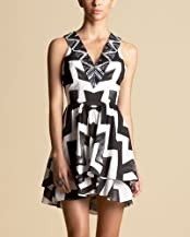 Graphic Beaded V-Neck Dress - bebe Addiction