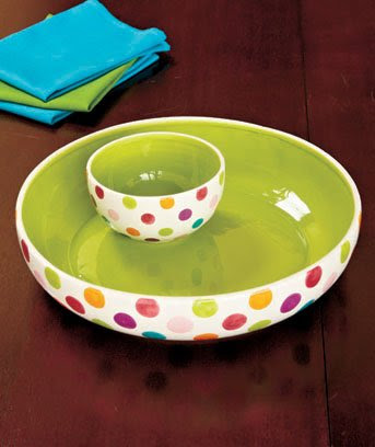 "12"" Ceramic Chip 'N Dip Bright Color Bowls Polka Dots 