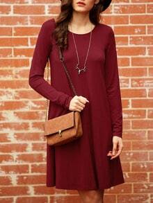 Wine Red Long Sleeve Casual Babydoll Dress