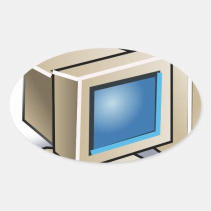 Retro Computer Oval Sticker