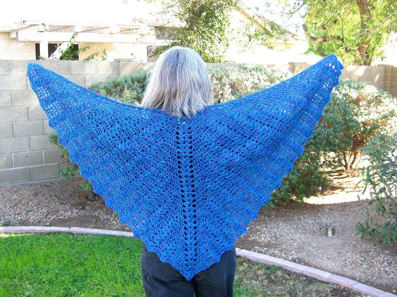 Crocheted Lace Butterfly Shawl, alpaca  and silk