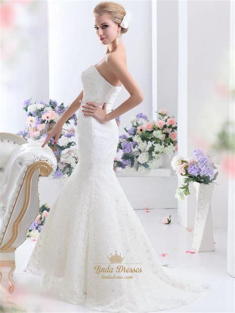 White Lace Mermaid Sweetheart Lace Up Back Wedding Dress