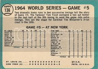 #136 1964 World Series Game Five (back)