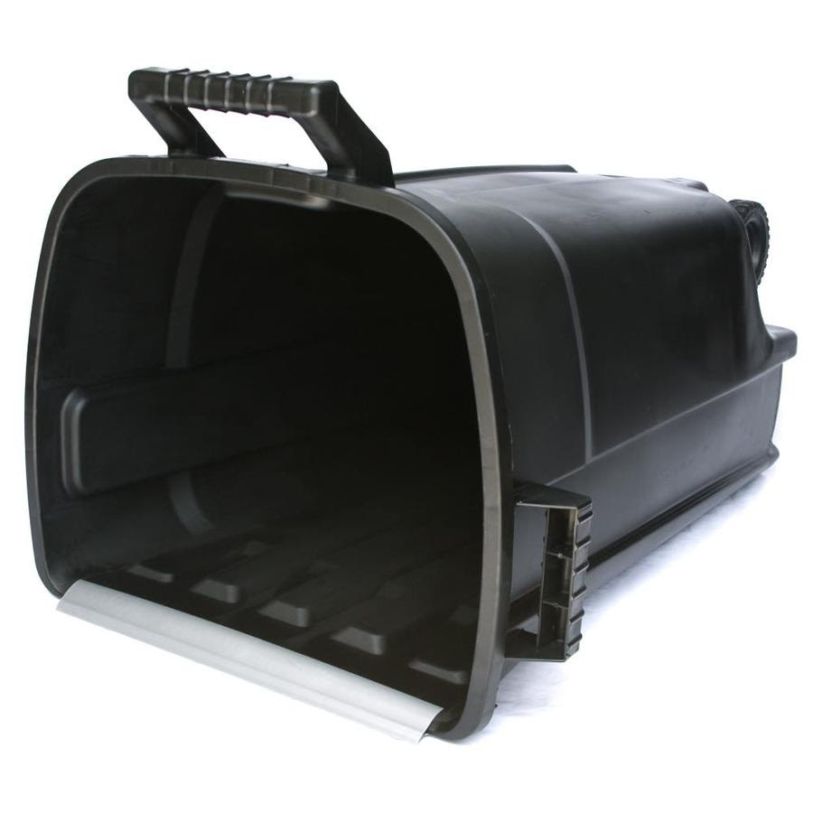 Incredible Plastics Bluehawk 32 Gallon Black Plastic Wheeled Trash Can With Lid In The Trash Cans Department At Lowes Com