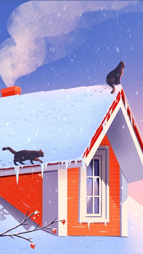 خلفية منزل الثلج مرسومة مع قطتين