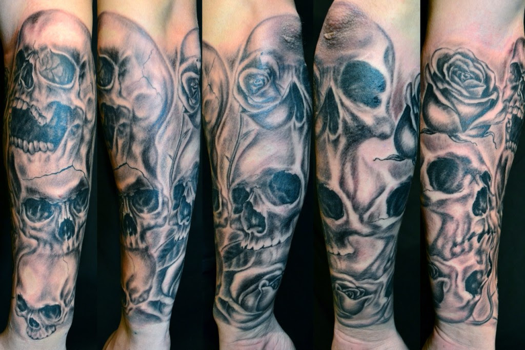 Colored Skulls Sleeve Tattoo