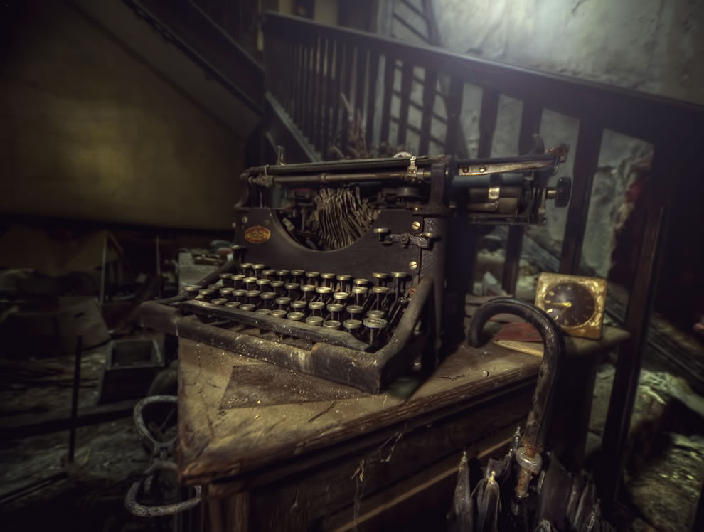 I was once a poet, old typewriter found at abandoned manor house
