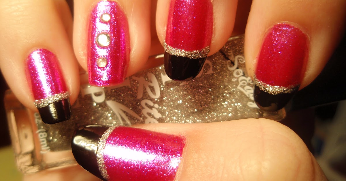 Lins Lacquer Funky Pink And Black Nails