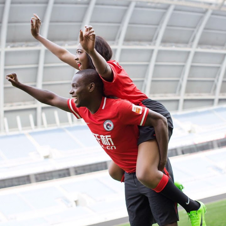 Nigerian Footballer, Anthony Ujah's Lovely Pre-Wedding Photos On The Pitch