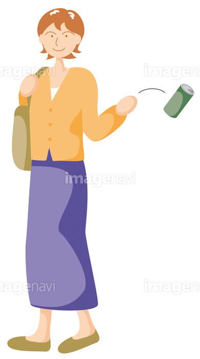 ポイ捨てをする女性の画像素材32030686 イラスト素材ならイメージナビ