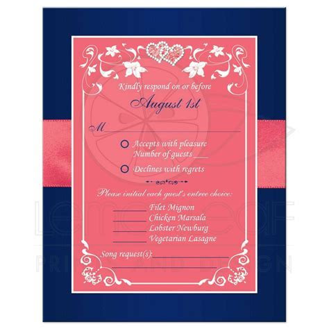 Navy Blue and Coral Pink Floral and Joined Hearts, PRINTED