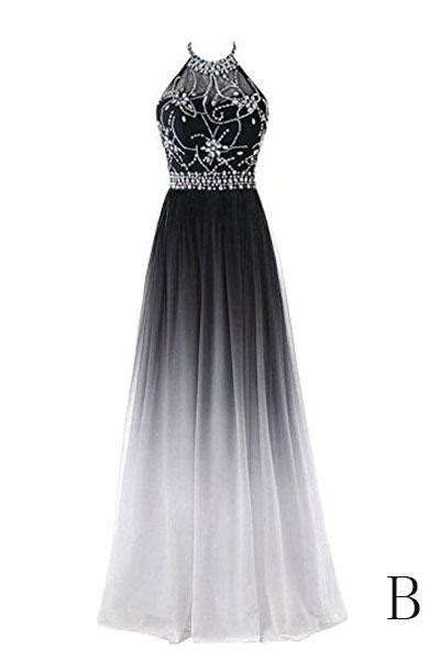 A line Halter Gradient Chiffon Prom Dress Ombre Beads