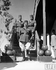 Egyptian Army Gen. Hassan Hosni Elzaidy (C), acting Chief of Staff, w. Col. Hossein Machmond (L) & Head of Staff Affairs, Mohamed Aly Gohary. July 1940
