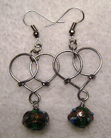 wire wrapped heart earrings