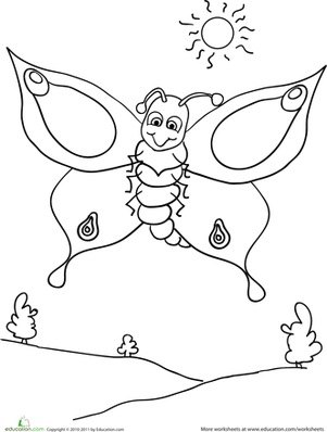 Color the Butterfly | Coloring Page | Education.com