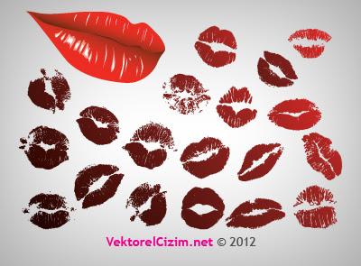 Vektörel çizim Dudak öpücük Izleri