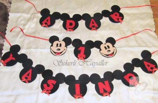 Keçeden Mickey Mouse Temalı 1 Yaş Yazısı 10marifetorg