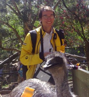 The emu, not so interested in Charles' Sendero GPS