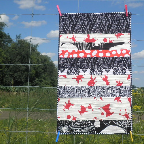 Olivia - Black, White and Red all over Strip Quilts