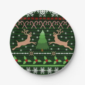 Cool Christmas Sweater Pattern 7 Inch Paper Plate