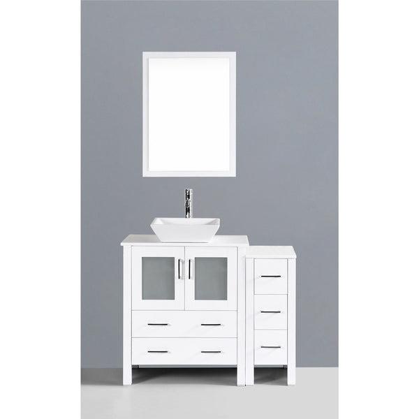 Bosconi 42 White Single Vanity Set With Square Vessel Sink