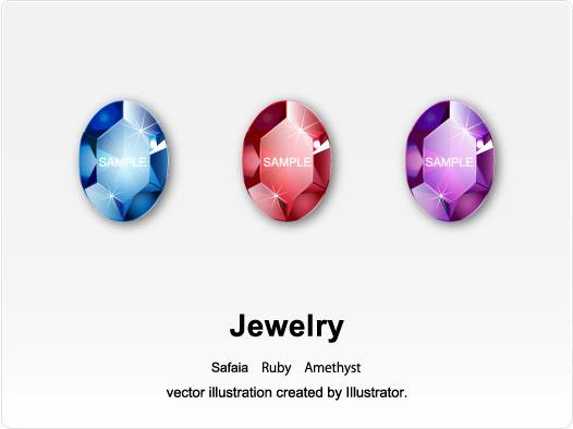 異なるカットや色の宝石のイラスト セットのイラスト素材ベクタ
