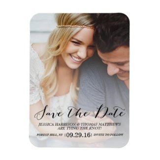 Modern Script | Custom Photo Save The Date Rectangular Photo Magnet