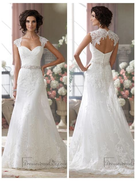 Cap Sleeves Slim A line Sweetheart Lace Appliques Wedding
