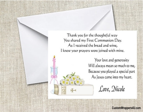 Baptism Thank You Card Candle Bible Pink Or Blue