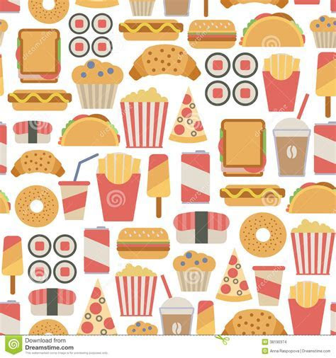 Fast Food Pattern Stock Images   Image: 38190374