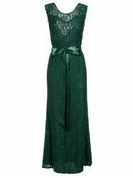 Elegant Waist Tied Sleeveless V-Shape Backless Hollow Out Lace Maxi Dress For Women