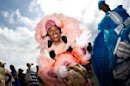 A Mardi Gras Indian parades during the New Orleans Jazz and Heritage Festival in New Orleans