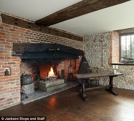 The Elizabethan fireplace at Westenhanger Castle