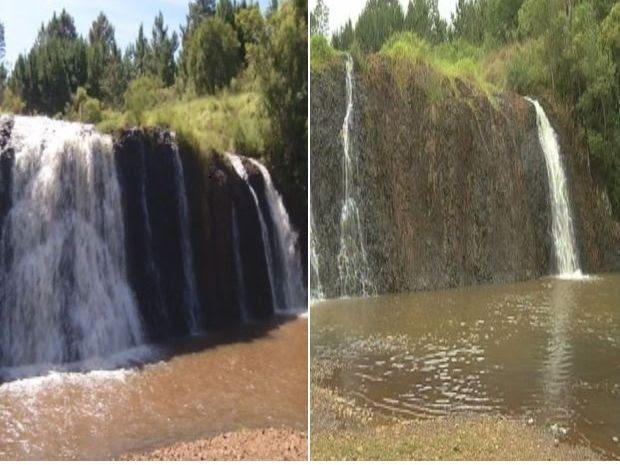 Queda de cachoeira diminuiu  (Foto: Reprodução / TV TEM)