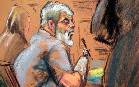 Uma ilustração de Abu Hamza durante o seu julgamento num tribunal de Nova Iorque