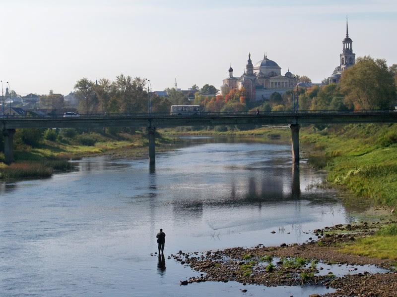 Вид на мост через Тверцу Города России, Тверская область, красивые места, пейзажи, путешествия, россия, торжок