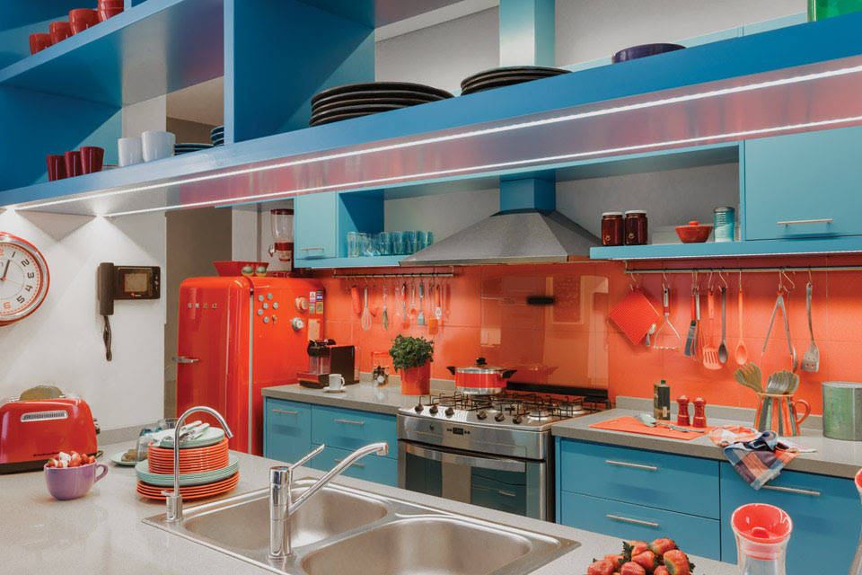 Azure Blue Red Orange Kitchen_1