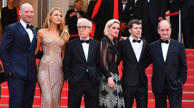 Cafe Society star Blake Lively defended Woody Allen. Also pictured Corey Stoll, Kristen Steward, Jesse Eisenberg and ...