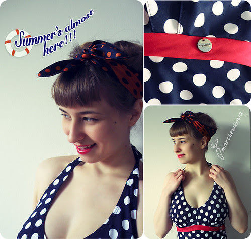 szafiarka, Summer's almost here, retro, vintage, pin-up, kostium kąpielowy, lato, groszki, grochy, panache monroe